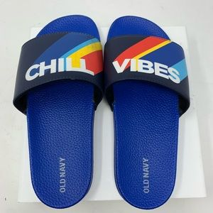 """Old Navy """"Chill Vibes"""" Pool Slide Shoes 5-6"""